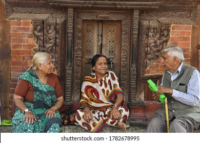 DURBAR SQUARE, NEPAL - APRIL 16,2019: The Portrait of Nepalese people with local lifestyle and environment in the area of Durbar square, Kathmandu