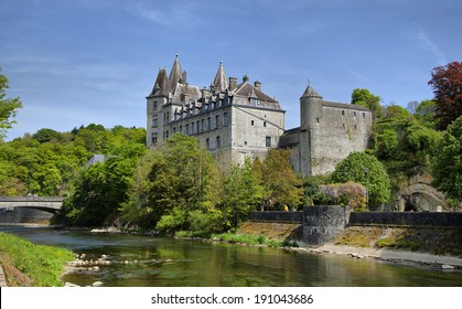 Durbuy Castle and Ourthe river in Wallonia region of Belgium