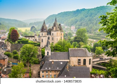 Durbuy, Walloon city in the Belgian province of Luxembourg. Beautiful medieval castle in the city centre.