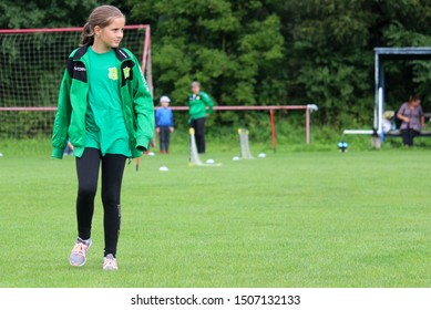 DURCINA, SLOVAKIA - SEPTEMBER 8, 2019: Summer soccer tournament for young kids (category U11) organized by football club FK Durcina. Matches full of emotions and joy of the game. Soccer girl portrait