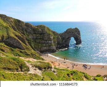 Durdle Door. The Jurassic Coast, near Lulworth, Dorset, England. English Channel. Atlantic Ocean shore.
