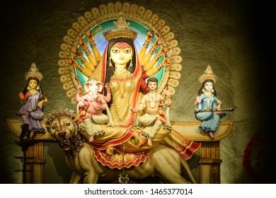 DURGA, THE GODDESS OF POWER (SHAKTI) .CELEBRATIONS OF THE DURGA PUJA FESTIVAL IN KOLKATA, WEST BENGAL.