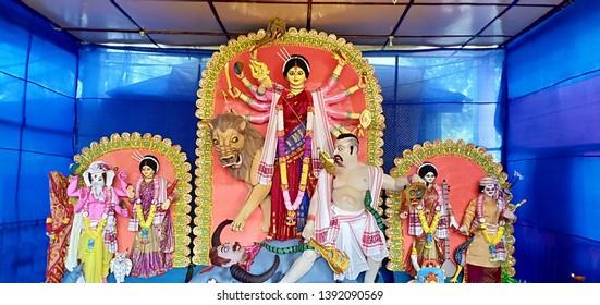 Durga puja. Artistic idols of the goddess.