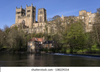 Durham cathedral above the old fulling mill on the river wear in spring sunshine