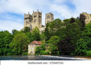 Durham Cathedral on a beautiful sunny summer's day with blue sky and clouds, Durham, County Durham