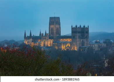 Durham Cathedral on a Misty Evening at Winter. County Durham, England, UK.