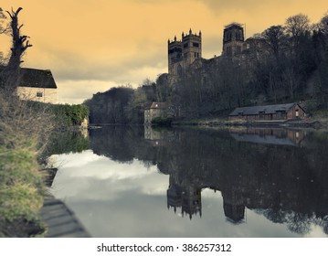 Durham Cathedral soars above the River Wear in Durham, North East England.