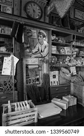 Durham, England, 11th March 2019. A peek into the past. Inside a 1900s grocery store.