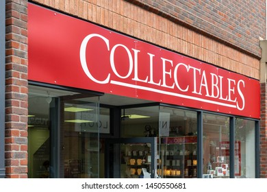 Durham, England, UK - 14th July 2019: The exterior fascia of Collectables shop, store, in Prince Bishops shopping centre in the centre of Durham historical university town city centre.