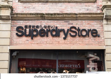 Durham / Great Britain - March 02, 2019 : Exterior of Superdry Store clothing and fashion shop store showing sign, signage, logo and branding