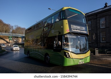 Durham / Great Britain - November 30, 2019 : Go North East, Go Ahead Group, bus in service for public transport on the road.  Double Decker in Angel Livery