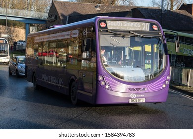 Durham / Great Britain - November 30, 2019 : Go North East, Go Ahead Group, bus in service for public transport on the road.  Double Decker in Prince Bishops Livery