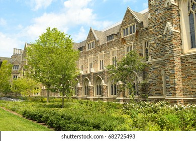 DURHAM - JULY 16: The neo-Gothic architecture of Duke University West Campus is displayed on a sunny day on July 16, 2017 in Durham, North Carolina, USA.