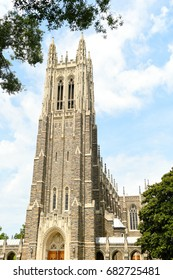 DURHAM - JULY 16: The sun shines on Duke Chapel on July 16, 2017 in Durham, North Carolina, USA.