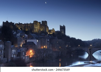 Durham just before sunrise. The Castle, Cathedral, Framwellgate Bridge and River Wear are visible.