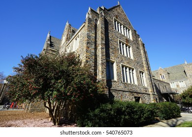 DURHAM, NC -2 DEC 2016- View of the Duke University campus. Founded in 1838, Duke is a private research university located in Durham, North Carolina, which is often ranked among the top ten.