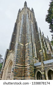DURHAM, NC -23 FEB 2019- View of the Duke Chapel, a church located at the center of the Duke University campus, a private research university located in Durham, North Carolina.