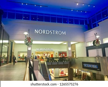 DURHAM, NC - DECEMBER 23, 2018: Nordstrom retail storefront at The Streets at Southpoint Mall.