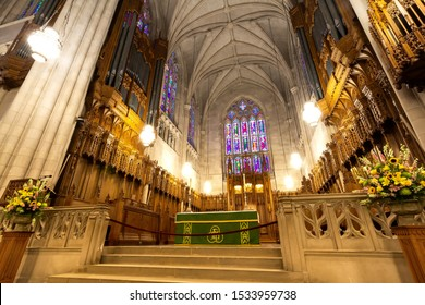 Durham, NC / United States - Oct. 13, 2019 - Landscape view of the chancel at Duke University Chapel