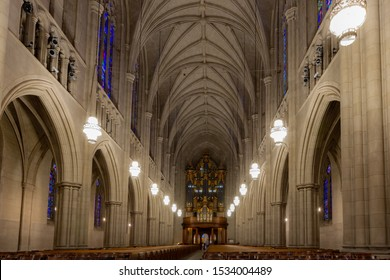 Durham, NC / United States - Oct. 13, 2019 - Landscape view of the nave at Duke University Chapel
