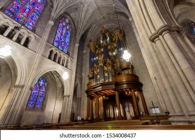 Durham, NC / United States - Oct. 13, 2019 - Landscape view of the organ at Duke University Chapel