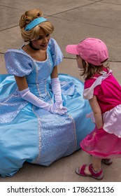 Durham, NC / USA - August 25 2019: Character meet during Princess Night at Durham Bulls minor league baseball stadium