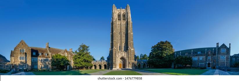 DURHAM, NC, USA - AUGUST 8: Duke University Chapel on August 8, 2019 at Duke University in Durham, North Carolina.