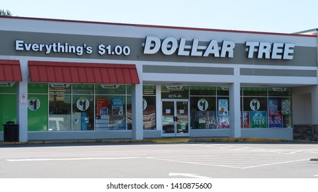 Durham, NC / USA - May 26 2019: Dollar Tree retail store. Dollar Tree is a discount variety store headquartered in Chesapeake, VA that sells items at $1.00 or less.