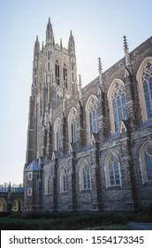 Durham / NC / USA - October 18, 2019: Duke University's Chapel Tower side view