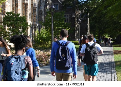 Durham, NC/United States- 09/07/2018: College students at Duke University stroll across campus on a sunny morning.
