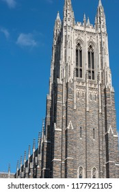 Durham, NC/United States- 09/07/2018: The imposing facade of Duke Chapel is an excellent example of collegiate gothic architecture.