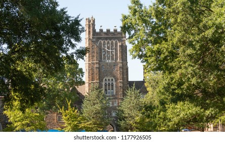 Durham, NC/United States- 09/07/2018: A look at the beautiful collegiate gothic architecture at Duke University.