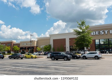 Durham, NC/United States- 09/20/2018: The exterior of a Best Buy retail store located at a strip mall.