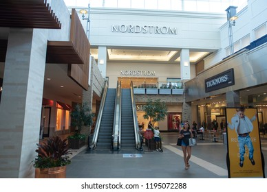 Durham, NC/United States- 09/20/2018: The interior of a large shopping mall in Durham.