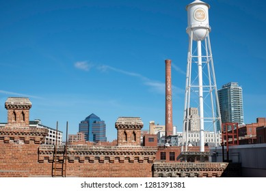 Durham, NC/United States- 1/11/2019: Looking towards downtown Durham  with the Lucky Strike water tower from the historic Tobacco district.