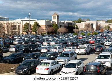 Durham, NC/United States- 12/16/2018: The exterior of a very busy mall ahead of Christmas.