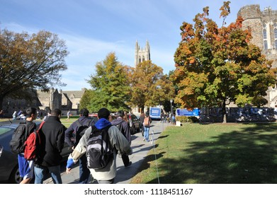 Durham, NC/US- 09/21/2013: College students make their way to class at Duke University.