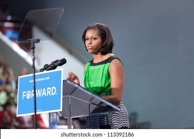DURHAM, NORTH CAROLINA - SEPT 19: First lady Michelle Obama swings through Durham for a campaign rally at North Carolina Central University. Durham, North Carolina on September 19, 2012.