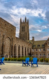 Durham , North Carolina / USA - April 07 2019 :  Building of Duke University Chapel is Interdenominational campus church featuring a sizable tower.