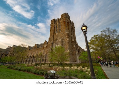 Durham , North Carolina / USA - April 07 2019 :  Building of David M. Rubenstein Rare Book and Manuscript Library in Duke University with sunset background.