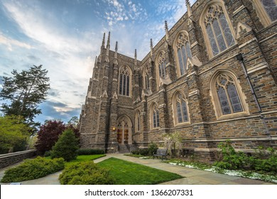 Durham , North Carolina / USA - April 07 2019 :  Side view of Duke University Chapel ,Interdenominational campus church featuring a sizable tower.