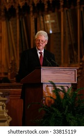 DURHAM, NORTH CAROLINA-JUNE 11: President Bill Clinton speaks at Duke Chapel ceremony on June 11, 2009 in Durham, North Carolina in Durham, North Carolina.