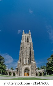 DURHAM, UNITED STATES- JUNE 18:The gothic Duke Chapel towers over the Duke University campus in summer, June 18, 2014