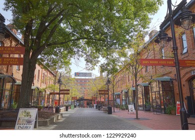 DURHAM,NC/USA - 10-23-2018: Brightleaf Square complex near downtown Durham, which includes restuarants and shops in renovated tobacco warehouses