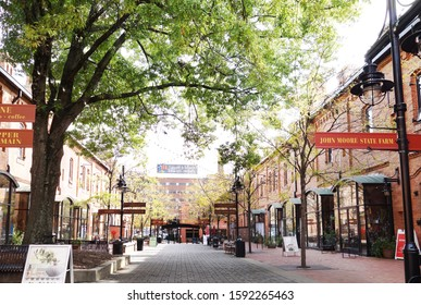 DURHAM,NC/USA - 10-23-2018: Brightleaf Square shopping center near downtown Durham, which includes restuarants and specialty retail shops in renovated tobacco warehouses