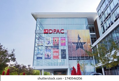 DURHAM,NC/USA - 10-23-2018: The Durham Performing Arts Center, known as The DPAC , a popular performance venue in downtown Durham