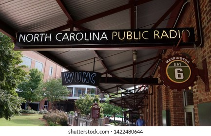 DURHAM,NC/USA - 10-23-2018: WUNC, NPR radio station in the American Tobacco Complex in downtown Durham, NC