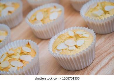 durian butter cake with almond slides, dessert