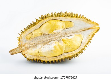Durian flakes peeled on white background