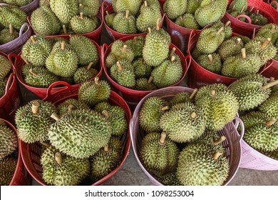 Durian fruit or durio for sale to customers  in the basket. Durian market in Thailand.